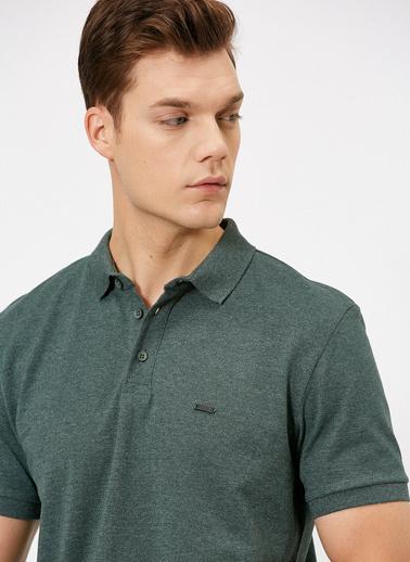 Koton Polo Yaka Metal Logo Detayli Slim Fit T-Shirt Yeşil